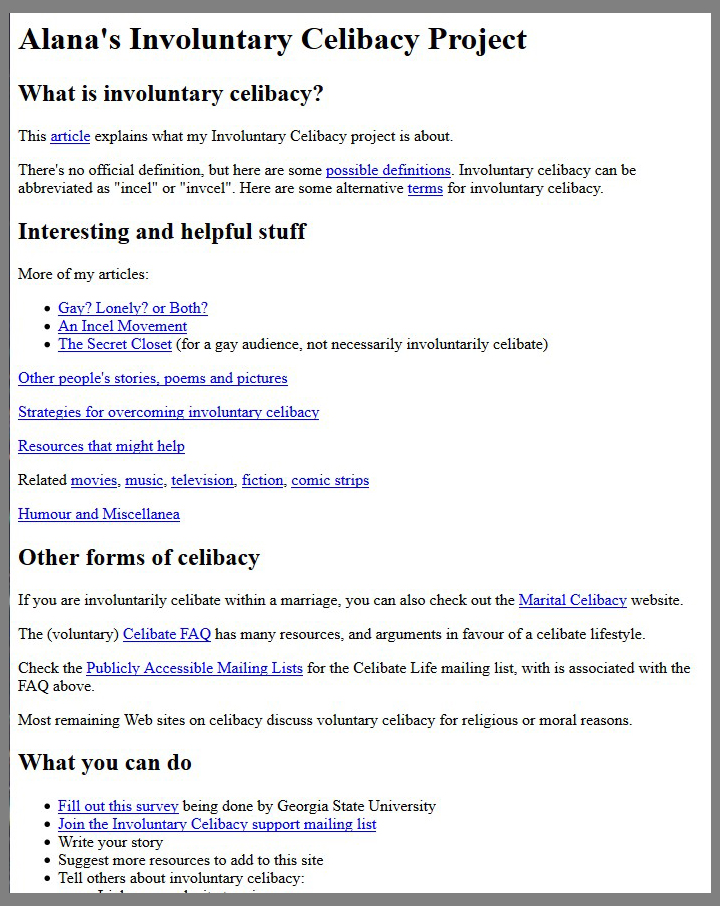 Screenshot of Alana's Involuntary Celibacy Project homepage